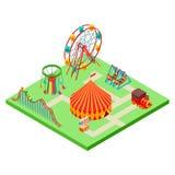 Isometric amusement park vector illustration isolated on white vector illustration