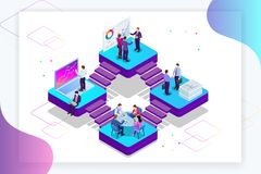 Isometric Analysis data and Investment. Project management, business communication, workflow and consulting. Website and. Mobile website development, SEO vector illustration