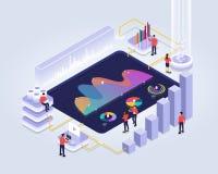 isometric analyzing statistics vector illustration