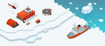 Isometric Antarctica station or polar station with buildings, meteorological research measurement tower, vehicles vector illustration