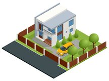 Free Isometric Apartment House. Building, Cottage, Villa. Modern Cozy House In Chalet Style With Garage For Sale Or Rent With Stock Image - 208060431