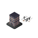 Isometric apartment house icon, building city infographic element, vector illustration Stock Photos