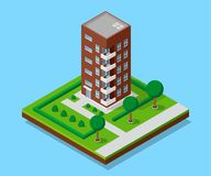 Isometric appartment house. Picture of appartent house with footpaths and trees, low poly town building, isometric icon or infographic element for city map Stock Image