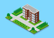 Isometric appartment house. Picture of appartent house with footpaths, trees and street lights, low poly town building, isometric icon or infographic element for Stock Photography