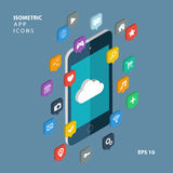 Isometric apps icons concept. Cloud computing. Stock Images