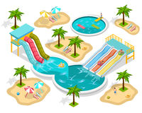 Isometric Aqua Park Composition. At the beach with entertainments and three pools vector illustration royalty free illustration