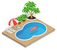 Isometric Aqua Park with water pool. Illustration isolated on white background Summer Vacation concept. Enjoying suntan. Woman in bikini on the inflatable Royalty Free Stock Images