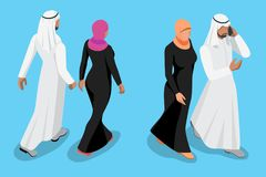 Isometric arabic couple front and back view vector illustration royalty free illustration