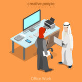 Isometric arabic islamic business office work vect Stock Photography