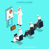 Isometric arabic islamic man business report vecto Royalty Free Stock Images