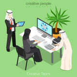 Isometric arabic islamic team work business office Stock Photos