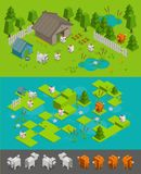 Isometric arcade game level set. Fox thief steals chickens on the farm dog protects. Different character elements. Isometric arcade game level set. Fox thief Stock Photography