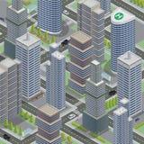 Isometric architektura Biznesowy miasto Pejzaż miejski z Scyscraper ilustracja wektor