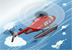 Isometric Arctic Emergency Helicopter in Flight in Rear View Stock Photo
