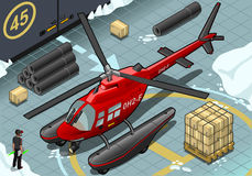 Isometric Arctic Emergency Helicopter in Front View Stock Images