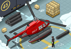 Isometric Arctic Emergency Helicopter in Rear View Royalty Free Stock Photography