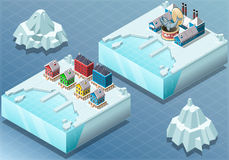 Isometric Arctic Town and Fish Canning Factory Stock Photo