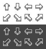Isometric arrow line icon set. Isometric arrow thin line icon set,vector and illustration stock illustration