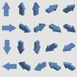Isometric arrows collection. Set of blue 3d pointers. Vector. Isometric arrows collection. Set of blue 3d pointers. Vector illustration stock illustration
