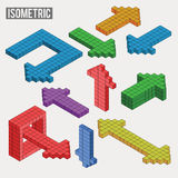 Isometric arrows in different versions Stock Photo