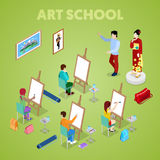 Isometric Art Concept. Class with Students Painter. People Learning to Draw Royalty Free Stock Photography