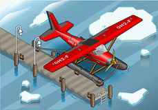 Isometric Artic Hydroplane at Pier. Detailed illustration of a Isometric Artic Hydroplane at Pier Royalty Free Stock Images