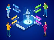 Isometric artificial intelligence. AI and business IOT concept. Mans and women chatting with chatbot application. Isometric artificial intelligence. AI and royalty free illustration