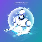 Isometric artificial intelligence AI vector illustration