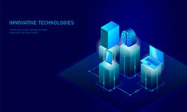 Isometric artificial intelligence business concept. Blue glowing isometric personal information data connection pc. Smartphone human brain future technology. 3D Stock Images