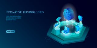 Isometric artificial intelligence business concept. Blue glowing isometric personal information data connection pc royalty free illustration