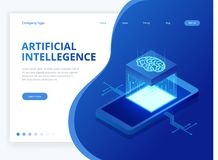 Isometric artificial intelligence business concept. Technology and engineering concept, data connection pc smartphone. Future technology vector illustration