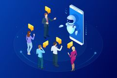 Isometric artificial intelligence. Chat bot and future marketing. AI and business IOT concept. Mans and women chatting. With chatbot application. Dialog help royalty free illustration