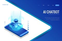 Isometric Artificial Intelligence. Chatbot and future marketing. AI and business IOT concept. Dialog help service stock illustration