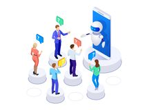 Isometric artificial intelligence. People ask questions for the chatbot. Science teacher bot concept. Knowledge stock illustration
