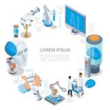 Isometric Artificial Intelligence Round Concept stock illustration