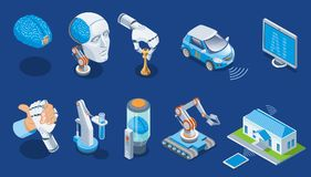 Isometric Artificial Intelligence Set stock illustration