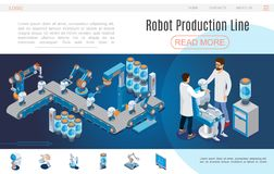 Isometric Artificial Intelligence Website Template stock illustration