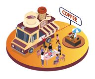 Coffee Food Truck Isometric Artwork where people are enjoying coffee with their friends. royalty free illustration