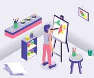 An Artist is Painting on a Canvas Isometric Artwork Concept. royalty free illustration