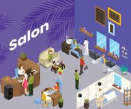 Beauty Salon where people are getting haircut Isometric Artwork Concept royalty free illustration