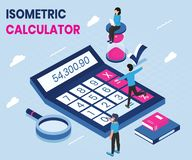 Calculator Use in a Isometric Artwork Concept design stock illustration