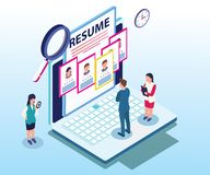 Isometric Artwork Concept of Companies hiring professionals. vector illustration