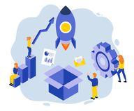 Isometric Artwork Concept of a company starting off their business. royalty free illustration