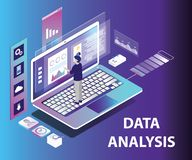 Isometric Artwork Concept of Data analysing vector illustration
