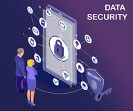 Isometric Artwork Concept of data protection where the data of people is safe. royalty free illustration
