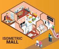 Isometric Artwork Concept of a interior of a mall shops where people are buying stuff/. Isometric Artwork Concept of a Mall, Where there are different stores vector illustration