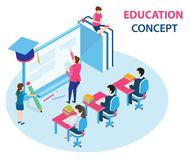 Isometric Artwork Concept of online education where students are learning from a computer vector illustration