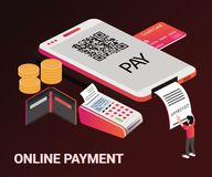 Isometric Artwork Concept of online money transaction. stock illustration