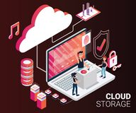 Isometric Artwork Concept of People Streaming Songs from Cloud Storage. Isometric Artwork Concept of Cloud storage where all the songs are on the cloud and vector illustration