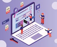 Isometric Artwork Concept of People Web Designing in a PC for a client. royalty free illustration